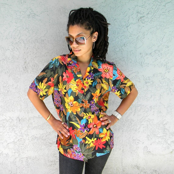 the magnum pi vintage 80s90s silk shirt yuppie by