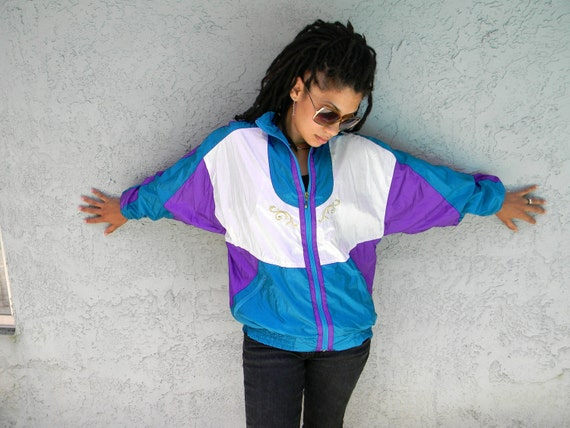 Dance Fever - Vintage 90s Purple/Teal/White/Gold Nylon Windbreaker Bomber Jacket - Fall Fashion Sale