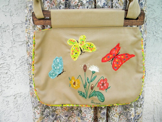 Vintage Wooden Handle Canvas Purse - 70s Handmade Cloth and Wood Purse, Groovy Boho Shoulder Bag w Embroidered Calico Butterflies n Daisies