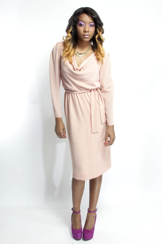 Nude Peach Sherbert - Vintage 70s Lightweight Semi Sheer Crepe Dress for Day/Evening w/ Sexy Draped Plunging Neckline - Summer Style