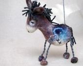 Vladimir - Felt Donkey, Art  Marionette Handmade Puppet Felted Animals Stuffed Toy. grey gray blue night claret maroon. MADE TO ORDER