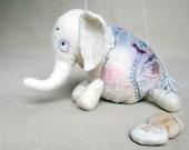 Berthina -  White Felt Elephant. Art Marionette. Puppet. Felted Stuffed Toy. pastel.  MADE TO ORDER