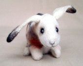 Stella  - Felt  Little Hare. Art Toy Felted Bunny Stuffed Animals. white neutral beige cream brown orange. MADE TO ORDER