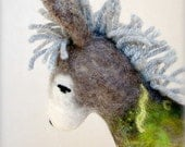 Frederic - Felt Donkey. Art Marionette. Organic Puppet. Handmade Felted Stuffed Embroidered Toy Animal. grey green fresh. MADE TO ORDER