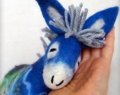 Blue  Fillipe -  Felt Donkey. Art Marionette. Puppet. Felted Stuffed Toys. MADE TO ORDER