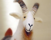 Gerhard -  Felt Goat. Art Marionette Handmade Puppet Stuffed Felted Toy. cream white beige neutral brown grey love. MADE TO ORDER