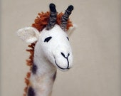 Claudia - Felt Giraffe. Art Puppet, Marionette, Stuffed Animals, Felted Toy. MADE TO ORDER