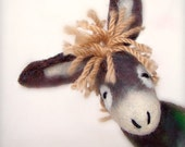 Balthazar - Felt Donkey. Art Animal Marionette, Handmade Puppet, Animals, Stuffed Toy. black grey green beige cream. MADE TO ORDER