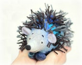 Peter - Felt  Hedgehog. Art Toy. Handmade Marionette. Felted Puppet. Stuffed Animals. blue grey brown. Special order for Heidi Engel.