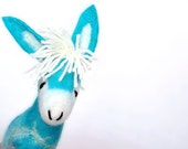 Blue Benedetto - Felt Donkey. Art Marionette Handmade Puppet  Stuffed  Toy. turguoise yellow aquamarine sky.  MADE TO ORDER