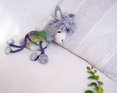 Sergio - Small Felt Donkey. Art Toy. Felted Stuffed Marionette Puppet Handmade Toys. woodland plant branch grey green nature. MADE TO ORDER.