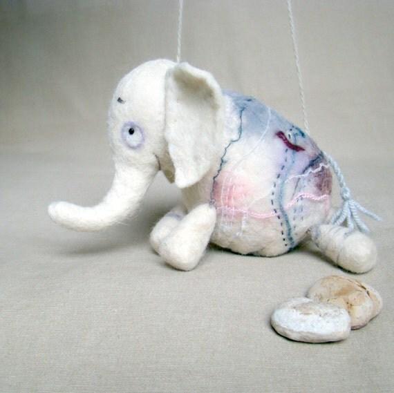 Berthina -  White Felt Elephant. Art Marionette, Puppet, Animals, Felted Stuffed Toys. MADE TO ORDER