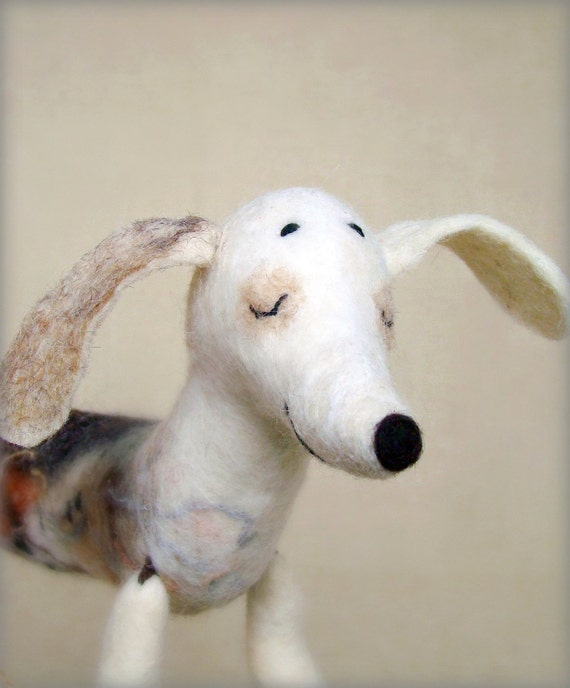 Natasha - Felt Dachshund, Art Puppet, Lovely White Dog, Marionette, Felted, Cute StuffedToy.   MADE TO ORDER