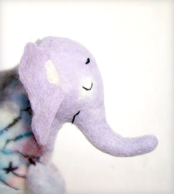 Adelina - Felt Elephant. Handmade Puppet, Art Marionette, Felted Animal, Stuffed Toy. lavender pink  blue lilac. Special order for Donna .