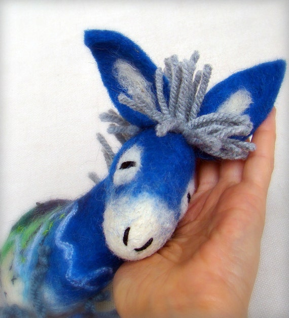 Blue  Fillipe -  Felt Donkey. Art Marionette. Puppet. Felted Stuffed Toy. MADE TO ORDER