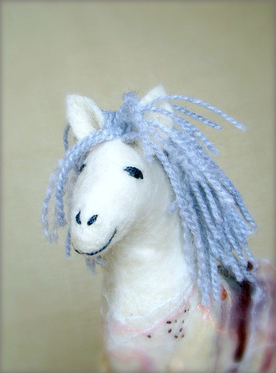 Violet - Felt Horse, Art Marionette, Handmade Puppet. Felted Stuffed Animal Toy. MADE TO ORDER