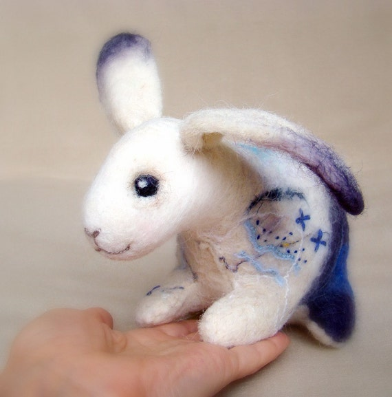 Alexander  - Felt  Little Bunny. Art Toy. Handmade Felted Hare Stuffed. white blue purple grey violet neutral.  Special order for Katie.