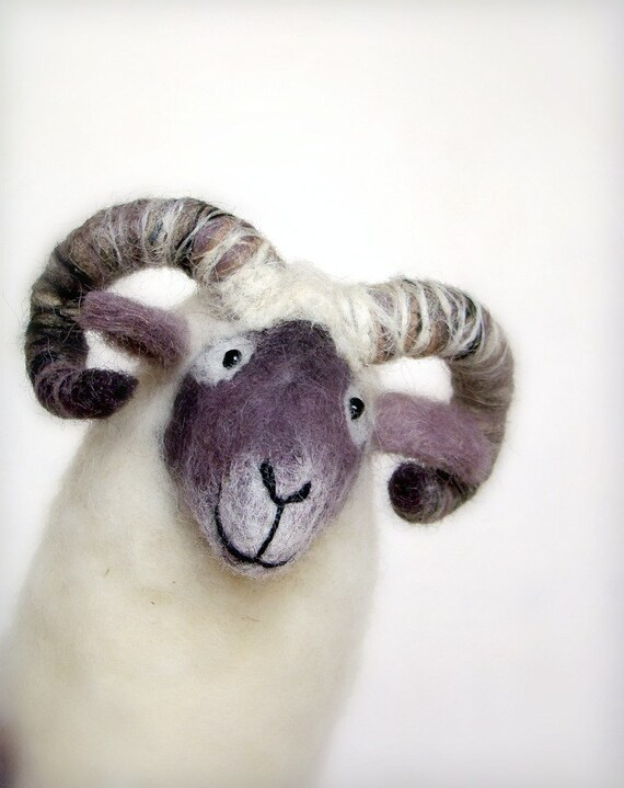 Nataniel - Felt Ram. Art Marionette, Puppet, Felted Animal, Stuffed Toy, Soft Sculpture, Sheep