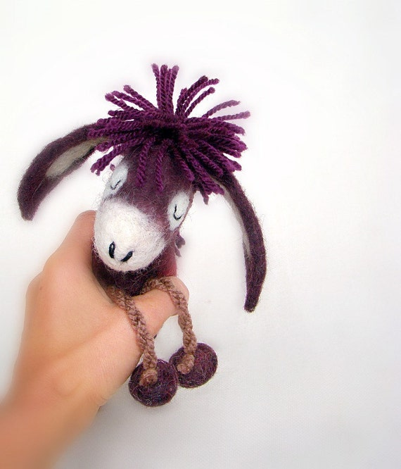 Tanja - Small Felt Donkey with long floppy ears, Art Marionette Animal. Puppet. Felted Stuffed Toy. MADE TO ORDER