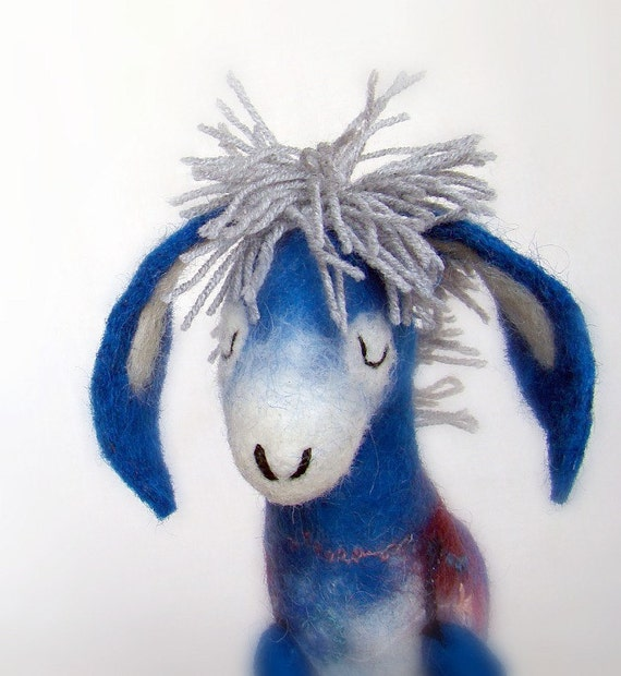 Blue Celestine - Felt Donkey with long floppy ears and with felted legs, Art Puppet, Marionette, Stuffed Animal, Felted Toy. MADE TO ORDER.
