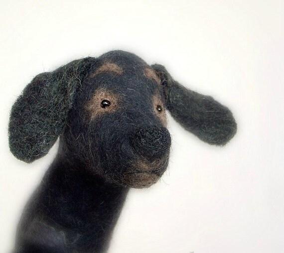 Admiral - Felt Dog Black Labrador Retriever, Art Puppet, Animal Handmade Lovely  Marionette Felted  Stuffed  Toy. brown grey . MADE TO ORDER