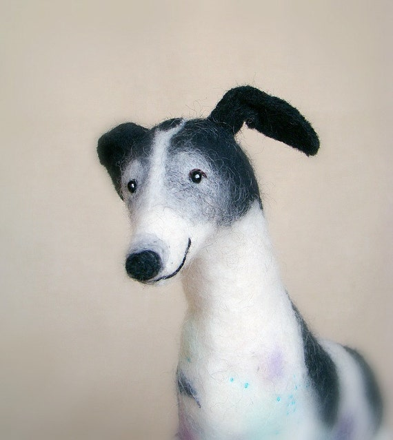 Jack -  Giant Greyhound,  Art Marionette, Felt Puppet, Felted Animal, Stuffed Toy.   SPECIAL ORDER  for Crafterall.