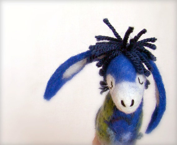 Blue  Peter - Small Felt Donkey. Art Toy. Felted Stuffed Marionette Puppet Handmade Toys. electric green aquamarine. MADE TO ORDER