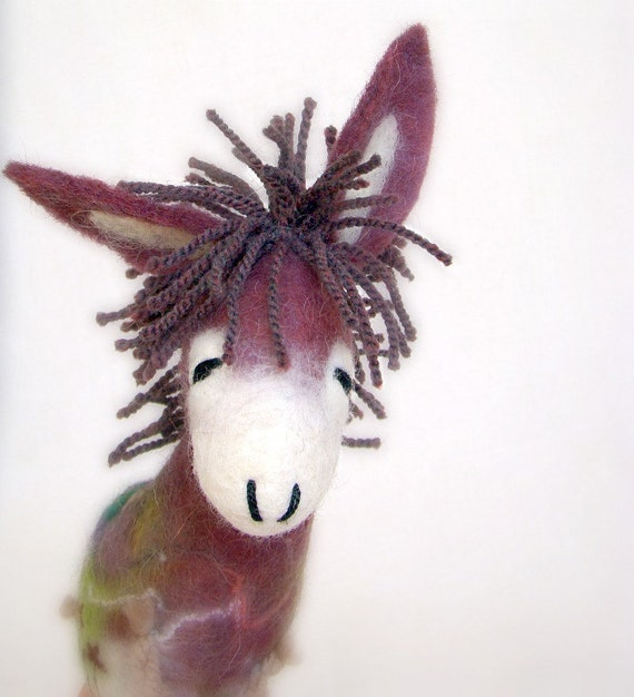 Stefania - Felt Donkey. Art Animal Marionette, Handmade Puppet, Felted Animals, Stuffed Toy. MADE TO ORDER