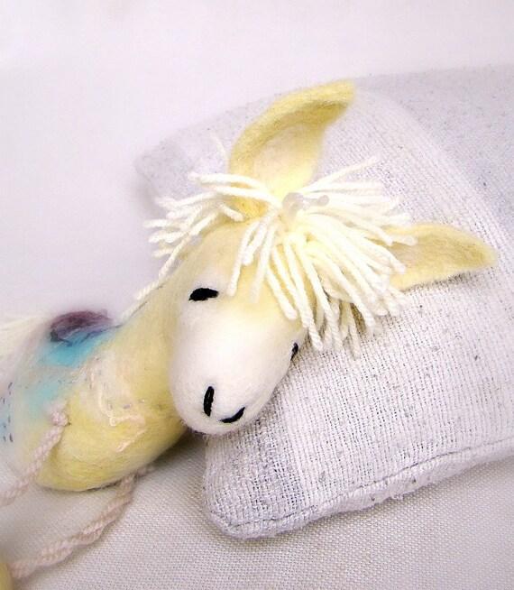 Alex - Yellow Felt Donkey. Art Toy. Felted Stuffed Marionette Puppet Handmade Animals Toys. lemon orange gold sunny sun. MADE TO ORDER.