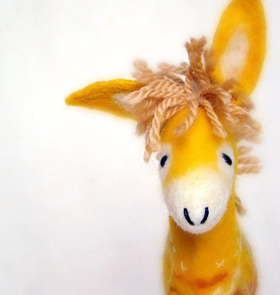 Viruka - Yellow Felt Donkey. Art Toy. Felted Stuffed Marionette Puppet Handmade Animals Toys. lemon orange gold sunny sun. MADE TO ORDER.