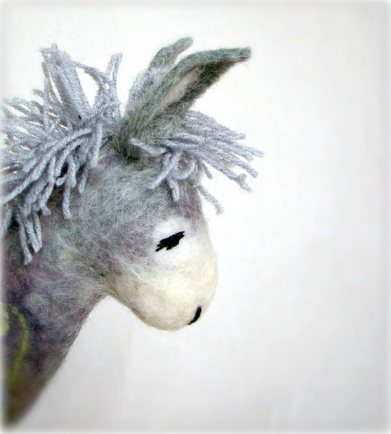 Grey Birger - Felt Donkey. Art Toy. Felted Stuffed Marionette Puppet Handmade Animals Toys. grey green gray. MADE TO ORDER.
