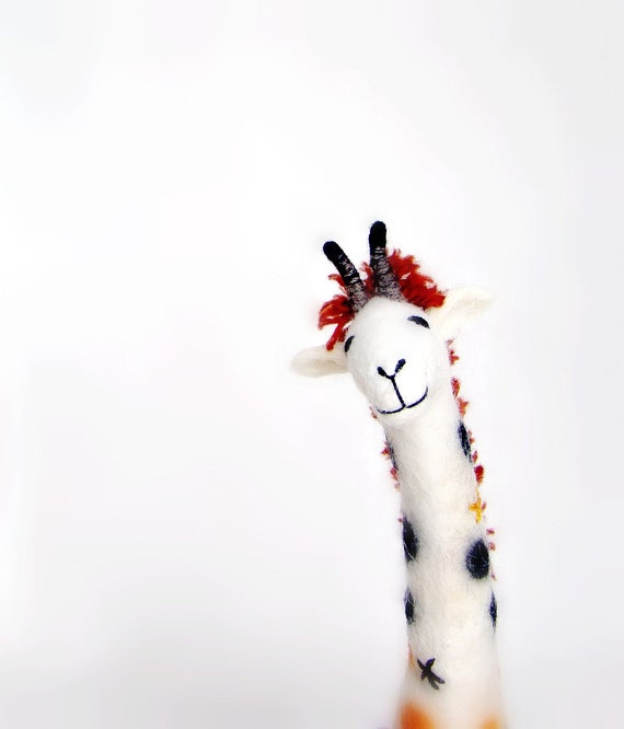 Claudia - Felt Giraffe. Art Puppet, Marionette, Stuffed Animals, Felted Toy, mteam. white orange red pastel neutral. MADE TO ORDER