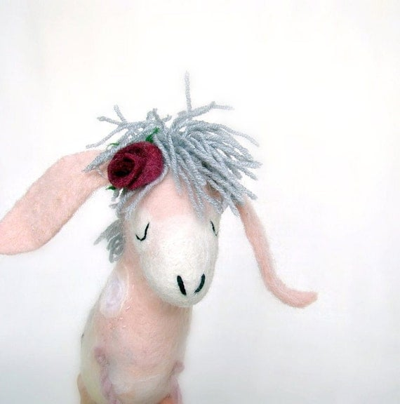 Rosemary - Felt Donkey with  floppy ears, Art Marionette Handmade Puppet  Felted Stuffed Toy. pale pink grey burgundy dream. READY TO SHIP.