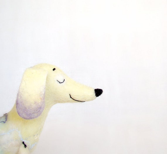 Flavia - Felt Dachshund, Art Puppet Lovely Dog Marionette Felted Cute StuffedToy.  yellow lilac lavender.  Special order for weenlover.