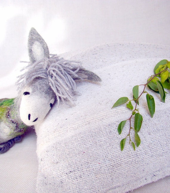 Sergio - Small Felt Donkey. Art Toy. Felted Stuffed Marionette Puppet Handmade Toys. grey white green nature. MADE TO ORDER..