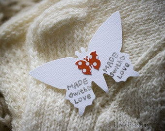 Butterfly mini tags - Made with LOVE - Set of 18 red and white butterflies