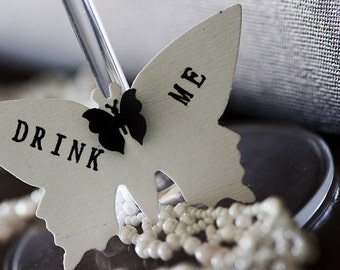 DRINK ME - Butterfly mini tags - Black and white butterflies. Inspired by Alice in Wonderland