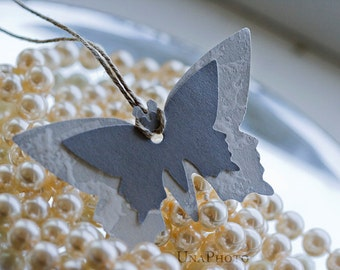 Set of 8 gray butterfly gift tags