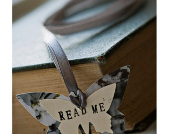 READ ME - Butterfly Bookmark with gray ribbon - gift for reader, writer or your library