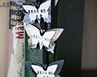 READ ME - Butterflies bookmarks, Inspired by Alice in Wonderland - from nature photographies