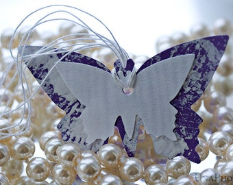 Set of 8 lilac butterfly gift tags