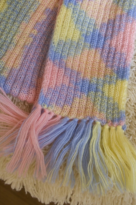 Knitted scarf - baby colors / pink, yellow, blue, colored, multicolored / for women and children, warm in spring, autumn or winter