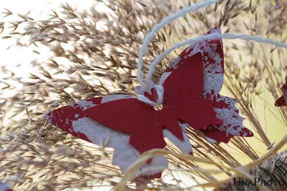 Red butterfly gift tags