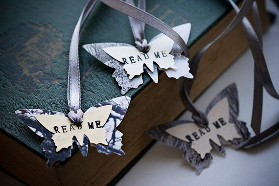 READ ME - Butterflies Bookmarks with gray ribbon, Inspired by Alice in Wonderland - from nature photographies