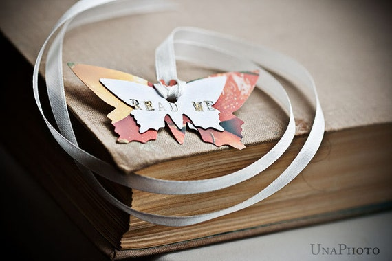 READ ME - bright Butterfly Bookmark with ribbon - gift for reader, writer or your library
