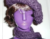 Boysenberry Beret and Cabled Scarf