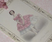 Custom listing for Karen French Woman Gift Tag with Seam Binding Vintage French Hang Tag