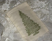 Vintage Inspired Christmas Tree Drawstring Muslin Gift Bag Pouch Set of 6