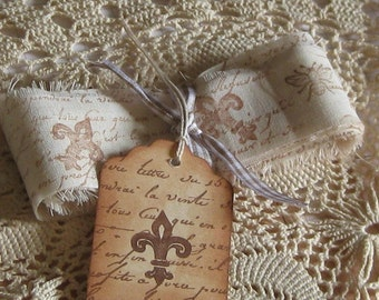 Hand Cut, Fringed and Stamped Muslin Ribbon French Fleur-de-lis