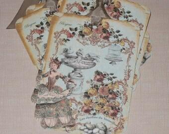 Vintage Gift Tag Set Marie Antoinette Les Jardins du Versailles Bonjour with Seam Binding